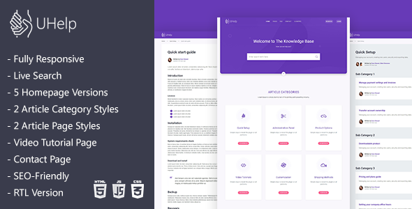 UHelp   Responsive Knowledge Base & FAQ HTML Template        TFx Luther Neely