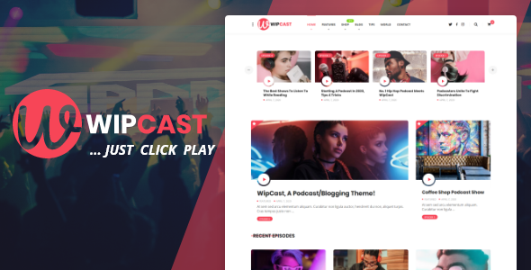 WipCast - A Podcast  Blogging WordPress Theme TFx ThemeFre