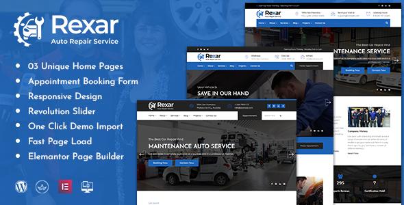 Rexar  Auto Mechanic WordPress Theme TFx ThemeFre