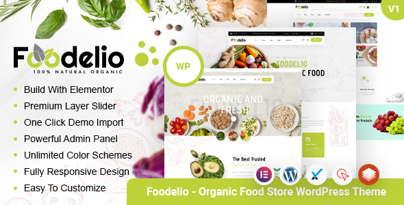 Foodelio  Organic Food Store WordPress Theme TFx ThemeFre