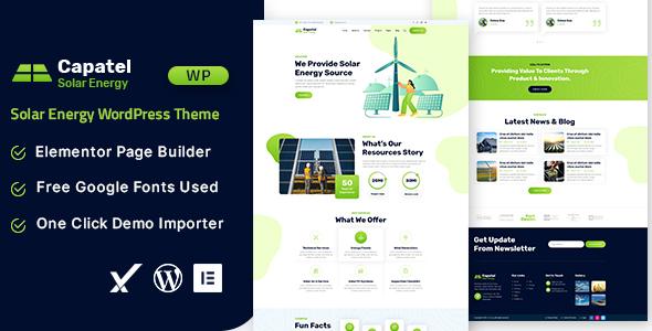 Capatel  Solar Energy WordPress Theme TFx ThemeFre