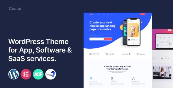 Custar - Software amp App Landing TFx WordPress ThemeFre