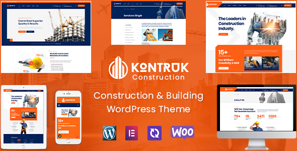 KonTruk - Construction amp Building Elementor WordPress Theme TFx ThemeFre